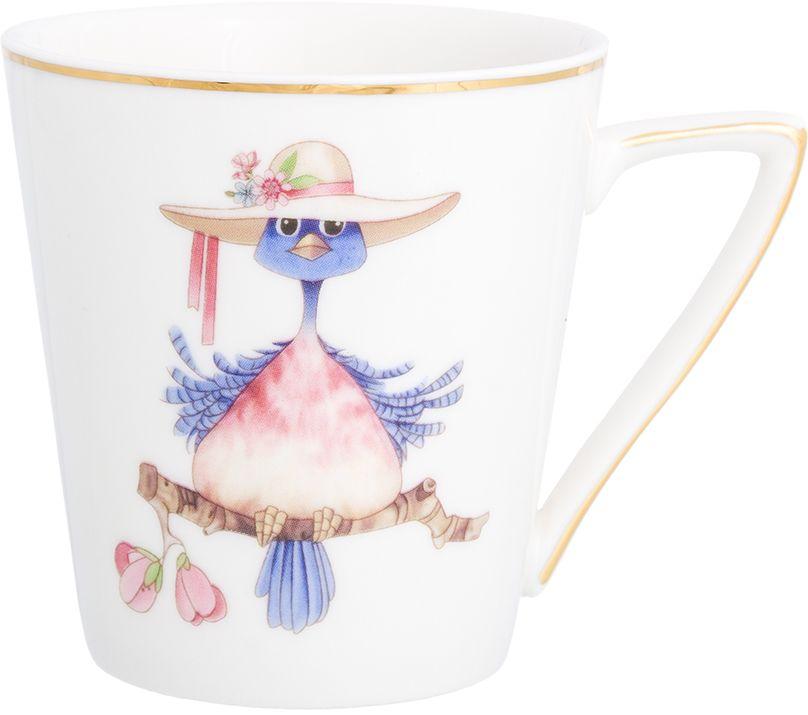 Кружка Elan Gallery Птичка в шляпе, цвет: белый, 190 мл