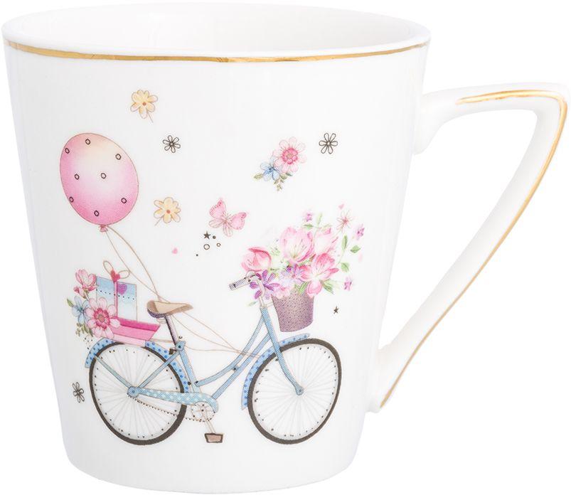 Кружка Elan Gallery Праздничный велосипед, цвет: белый, 190 мл