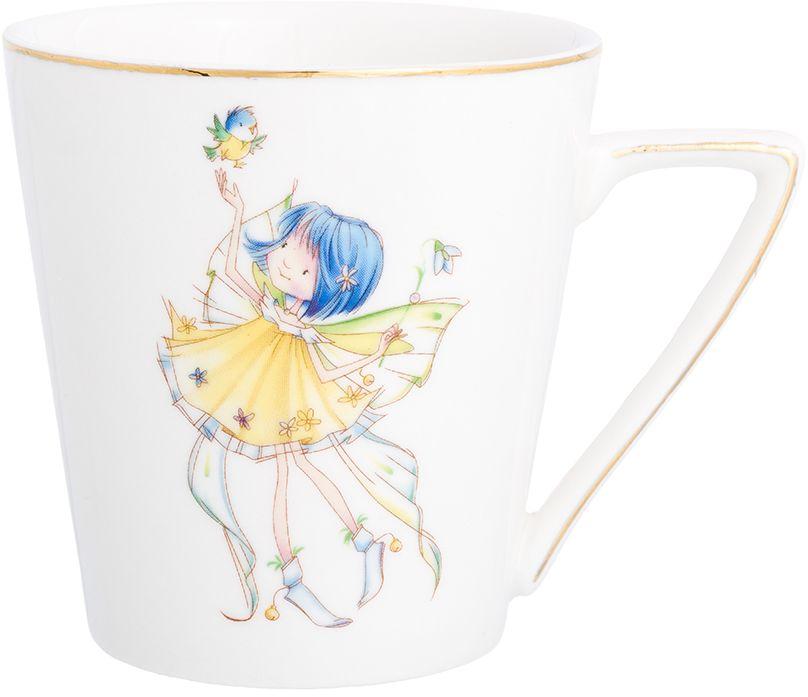 Кружка Elan Gallery Девочка - фея с птичкой, цвет: белый, желтый, 190 мл