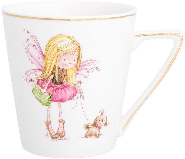 Кружка Elan Gallery Девочка - фея с собачкой, цвет: белый, розовый, 190 мл