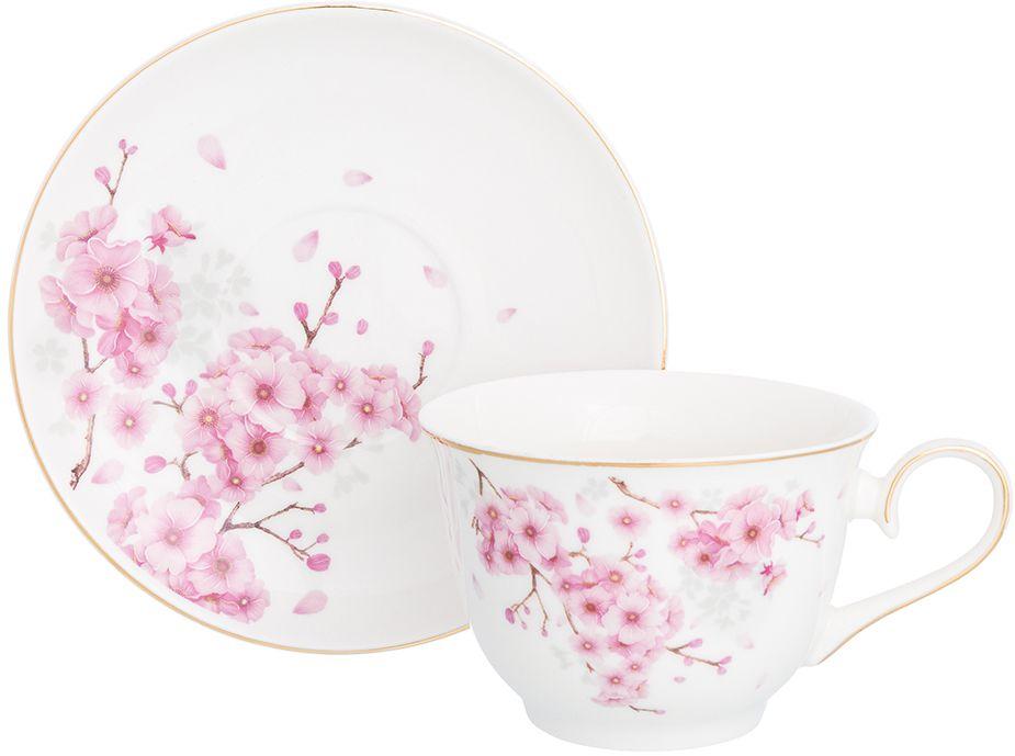 Набор чайный Elan Gallery Цветущая сакура, 2 предмета чайная пара elan gallery бархатный нектар цвет бежевый розовый 2 предмета