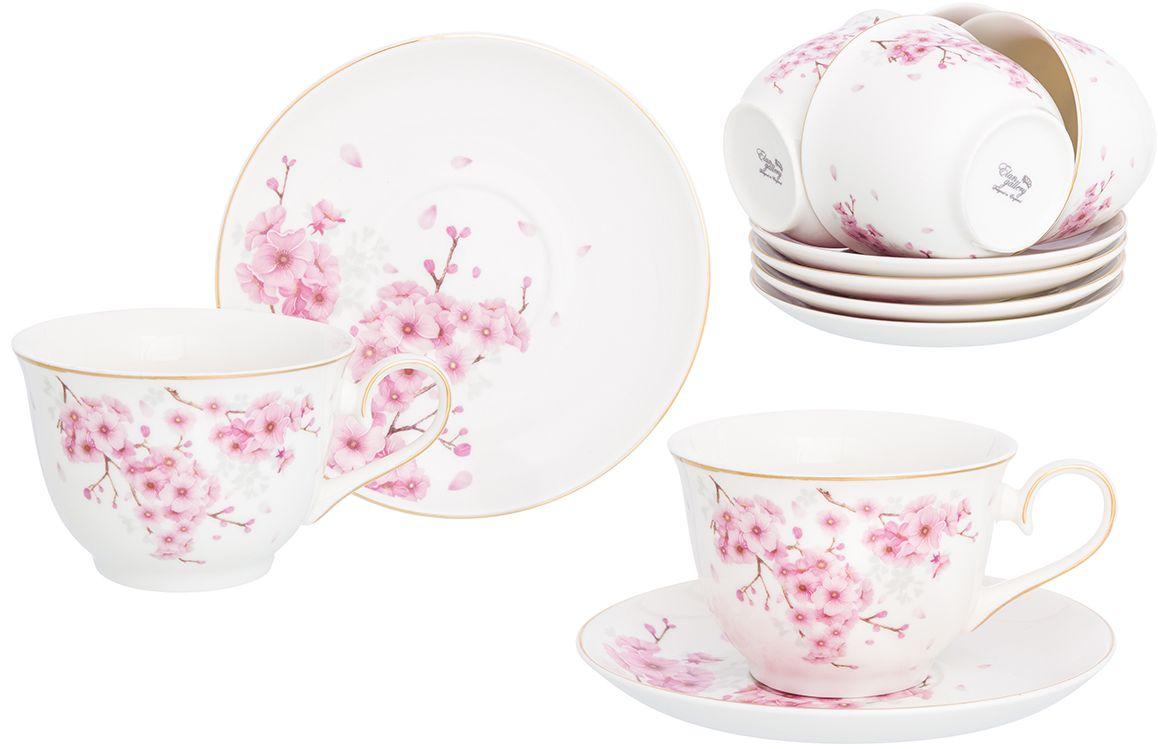 """Набор чайный Elan Gallery """"Цветущая сакура"""", 12 предметов"""