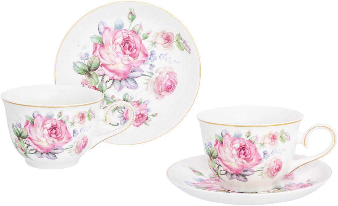 """Набор чайный Elan Gallery """"Розовая симфония"""", 4 предмета"""