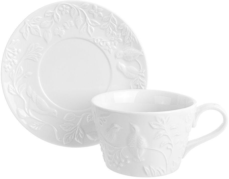 Набор чайный Elan Gallery Птички на ветке, 2 предмета столовое серебро аргента набор чашка чайная зимородок ложка 2 предмета футляр