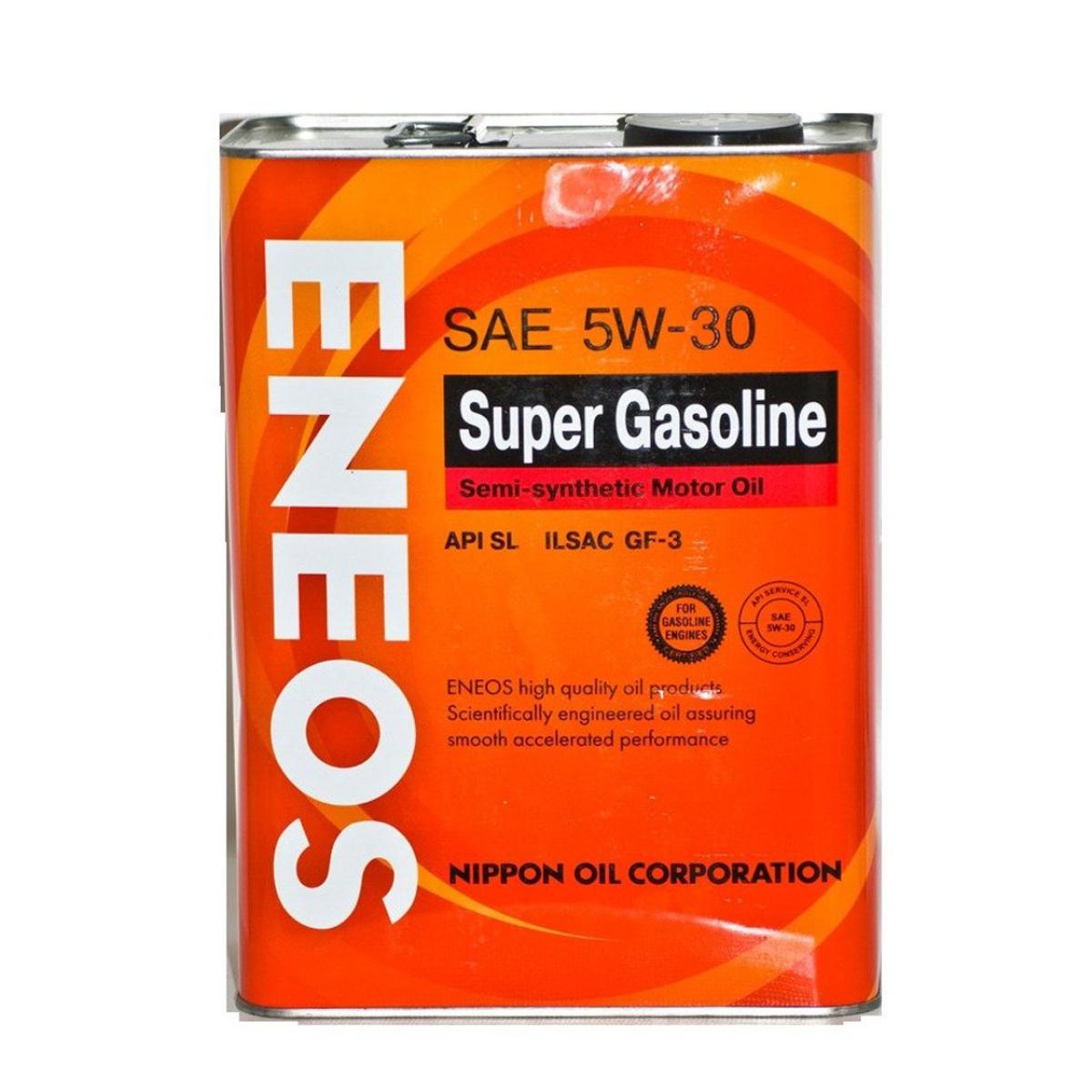 Масло моторное ENEOS Super Gasoline, полусинтетическое, 5W-30, 0,94 лoil1358Масло ENEOS Semi-Synthetic - полусинтетическое моторное масло, обеспечивает надежную защиту и увеличивает моторесурс двигателя. Оно рекомендуется для применения в четырехтактных бензиновых двигателях легковых машин, микроавтобусах, малотоннажных автофургонах и внедорожниках, включая двигатели с турбонаддувом и многоклапанные двигатели.