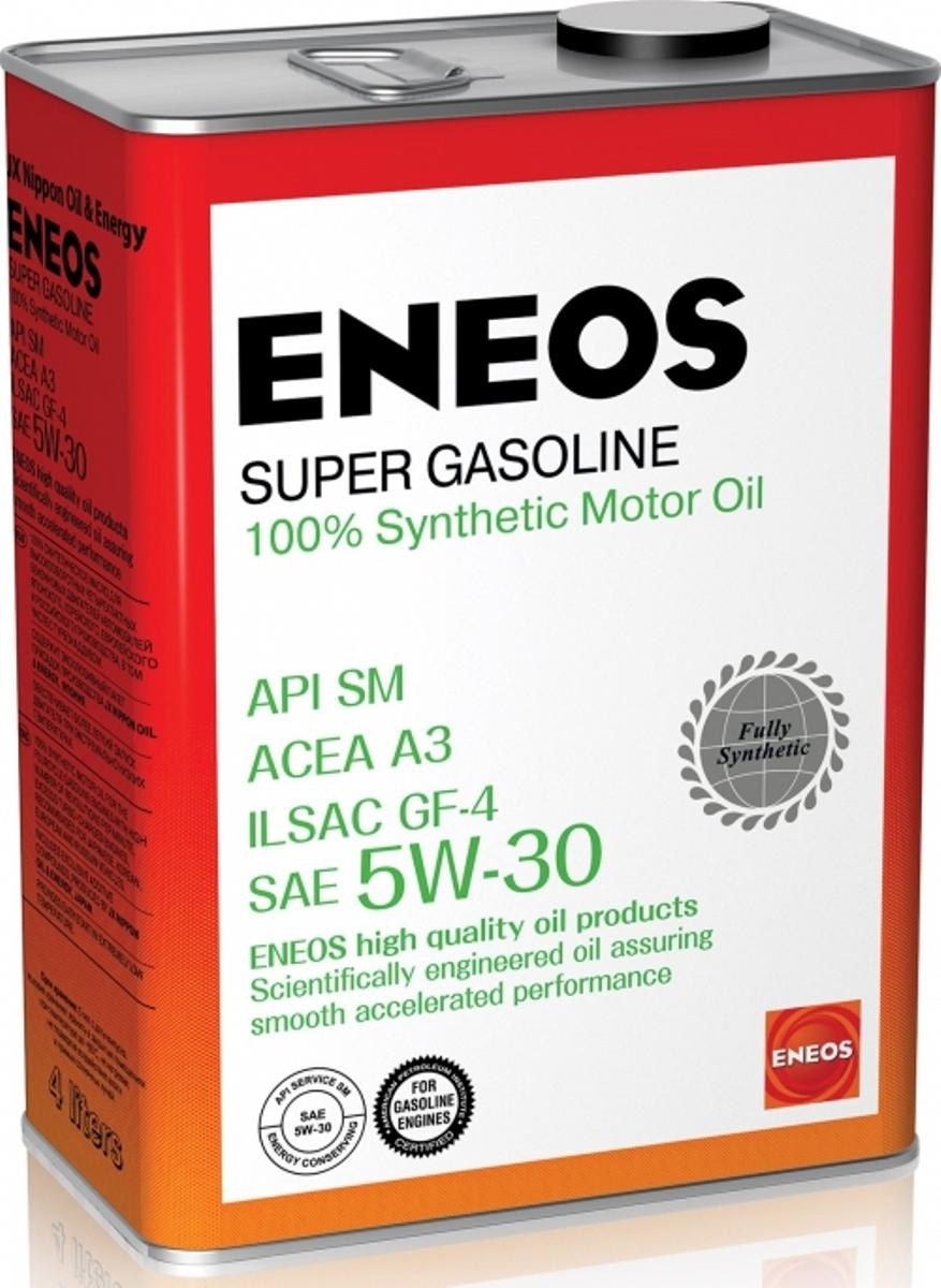 Масло моторное ENEOS Super Gasoline, синтетическое, 5W-30, 4 лoil4070Высококачественное 100% синтетическое моторное масло с уникальными эксплуатационными характеристиками. Специально разработано для обеспечения надежной работы высокофорсированных бензиновых двигателей нового поколения, в том числе оборудованных турбонаддув.