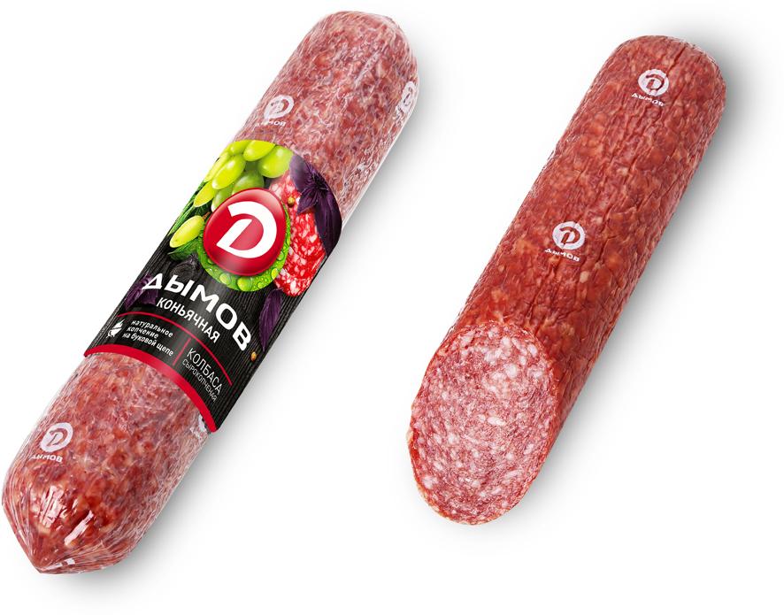 Дымов Колбаса Коньячная, сырокопченая, 300 г3192Вкус сырокопченых колбас изыскан и благороден. Мясной продукт.
