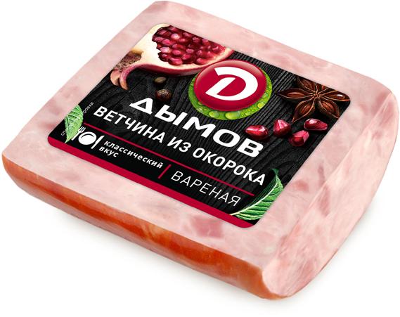 Дымов Ветчина из Окорока, белковая оболочка, 450 г3459Вкус нежный, ветчинный. Мясной продукт из мяса свинины вареный. Белковая оболочка. Упаковано в вакууме.
