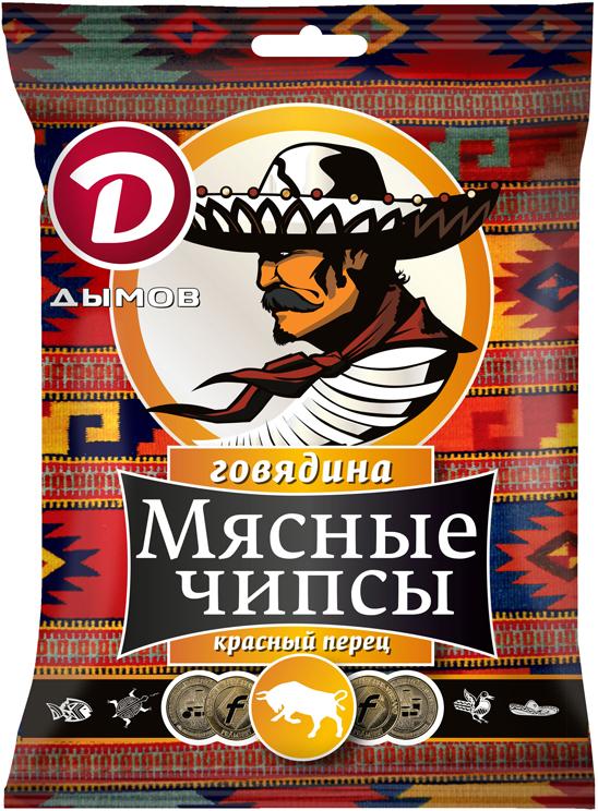 Дымов Чипсы из Говядины с красным перцем, сыровяленые, 25 г