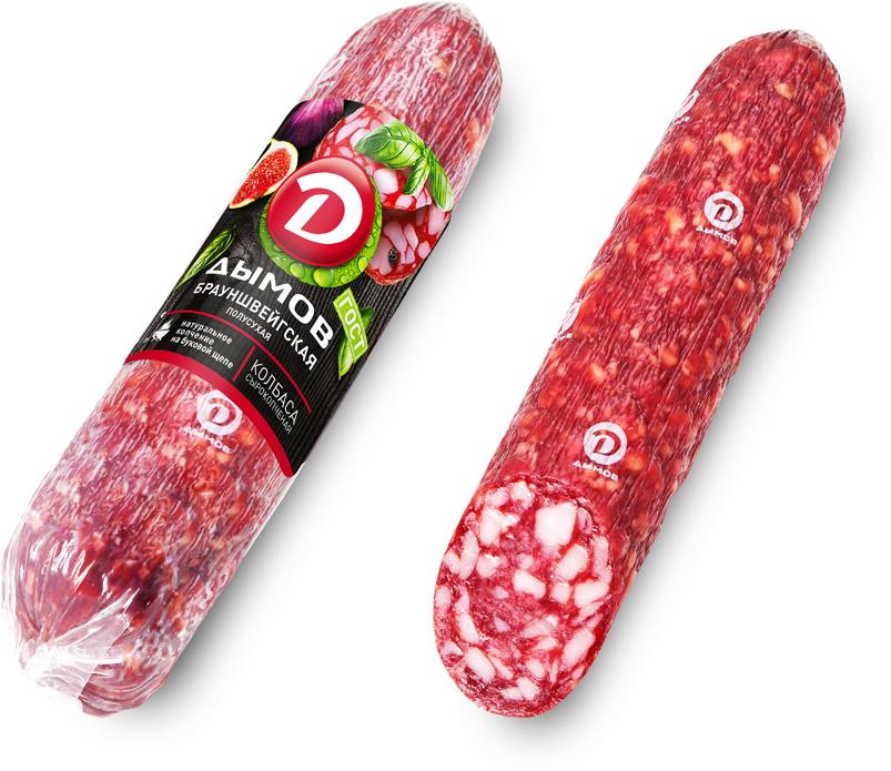 Дымов Колбаса Брауншвейгская полусухая сырокопченая, 300 г кампомос деликатесная колбаса вареная нарезка 300 г