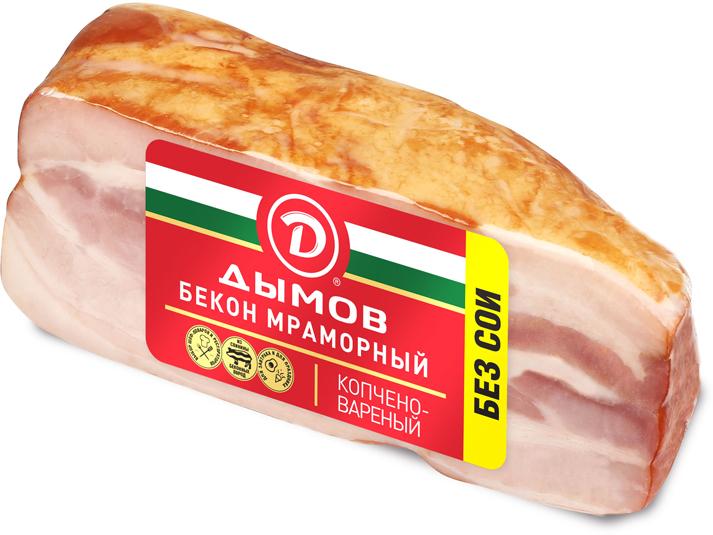 Дымов Бекон Мраморный копченовареный, 300 г925Копченовареный бекон от «Дымова» обладает классическим вкусом копченого мяса.