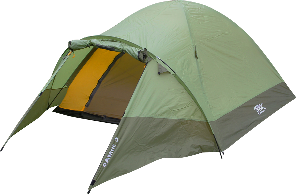 Палатка Track Pamir 35122750Количество мест: 3 Габариты и вес: Размеры внешней палатки, тента (ДхШхВ): 340х220х135 см Размеры спального места (ДхШхВ): 210х210х130 см Полный вес: 4,46 кг Вес дуг: 1 322 г Минимальный вес (без чехла и колышков): 3,7 кг Материалы: Внешний тент: Polyester 70D/190T PU 4000 мм Внутренняя палатка: Polyester R/S 70D/190T W/R RESIN Дно: PE 120 г/м2 Дуги: F/G Pole 8.5 мм
