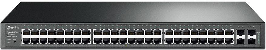 TP-LINK JetStream T1600G-52TS коммутатор (48 портов)T1600G-52TSКоммутатор TP-LINK T1600G-52TS – это экономичное решение для малых и средних предприятий,обеспечивающеевысокую производительность, мощные функции уровня 2 и 2+, такие как статическая маршрутизация, и QoSуровня Enterprise, а также надёжные функции безопасности. Устройство оснащено 48 гигабитными портами RJ45и 4 SFP-слотами и поддерживает множество полезных функций. Статическая маршрутизация позволитмаршрутизировать внутренний трафик для более эффективного использования сетевых ресурсов. Функциязащиты от широковещательных штормов позволит обеспечить защиту от широковещательных, мульткаст инеизвестных юникаст-штормов. Функция контроля пропускной способности (QoS, L2-L4) обеспечит продвинутыефункции управления трафиком, что позволит обмениваться данными более быстро. Более того, благодаря веб- интерфейсу настройки, а также таким функциям, как SNMP, RMON и Dual Image, настройка сможетпроизводиться ещё быстрее. Коммутатор T1600G-52TS представляет собой идеальное решение переходногоуровня для рабочих отделов и предприятий, нуждающихся в экономичном гигабитном коммутаторе уровня 2/2+.Для эффективной передачи голосовых, видео и других данных в одной сети коммутатор применяетмножественные функции контроля пропускной способности. Администраторы смогут назначать приоритеттрафика, используя различные средства, в том числе Port Priority, 802.1P Priority и DSCP Priority, обеспечивая икачественную передачу звука и видео без каких-либо артефактов.Коммутатор T1600G-52TS поддерживает широкий набор функций 2 уровня, включая 802.1Q Tag VLAN,изолирование порта, зеркалирование порта, STP/RSTP/MSTP, Link Aggregation Group и функцию контроляпотока 802.3x Flow Control. Коммутатор также имеет расширенные функции сетевого управления, такие какобнаружение петель (Loop Back Detection), диагностика кабельных соединений (Cable Diagnostics) и функцияотслеживания сетевого трафика IGMP Snooping. Последняя обеспечивает оптимизированную пер