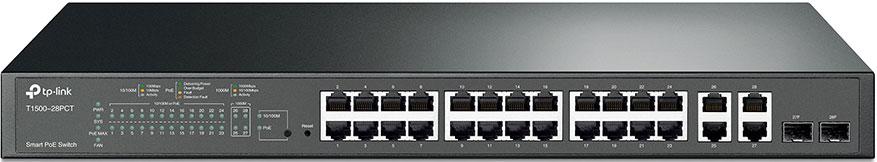 TP-LINK Smart T1500-28PCT коммутатор (24 порта) коммутатор tp link t1500 28pct smart коммутатор poe на 24 порта 10 100 мбит с и 4 гигабитных порта