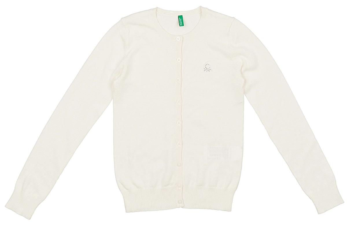 Кардиган для девочки United Colors of Benetton, цвет: белый. 12DRC5085_101. Размер 100