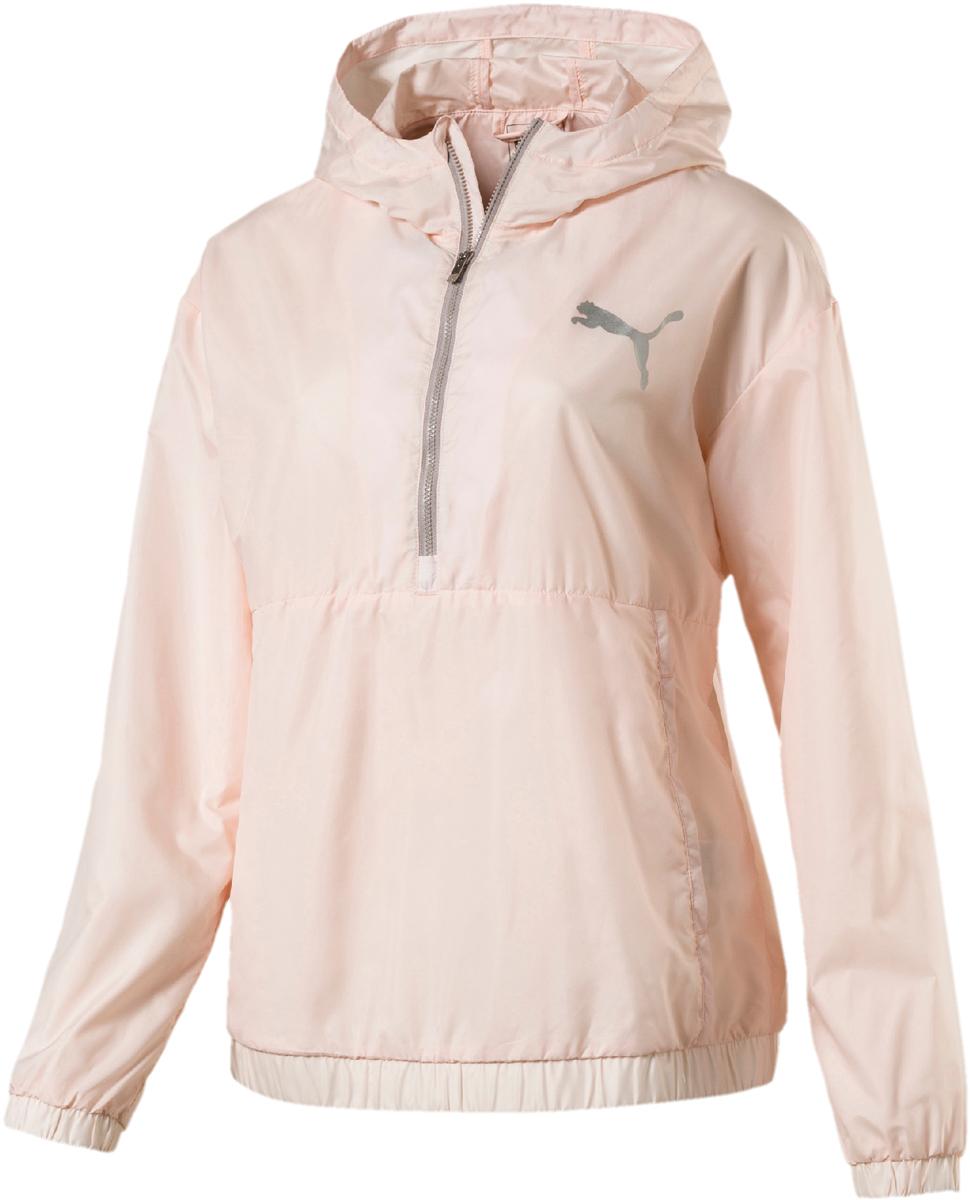 Ветровка женская Puma Spark 3 4 zip, цвет: светло-розовый. 51642005. Размер XL (48/50)51642005Женская ветровка Puma Spark с короткой застежкой-молнией на груди, одевающаяся через голову, снабжена удобным и вместительным карманом с клапаном спереди. Модель полностью посажена на подкладку и декорирована графическим рисунком, нанесенным по центру спины.