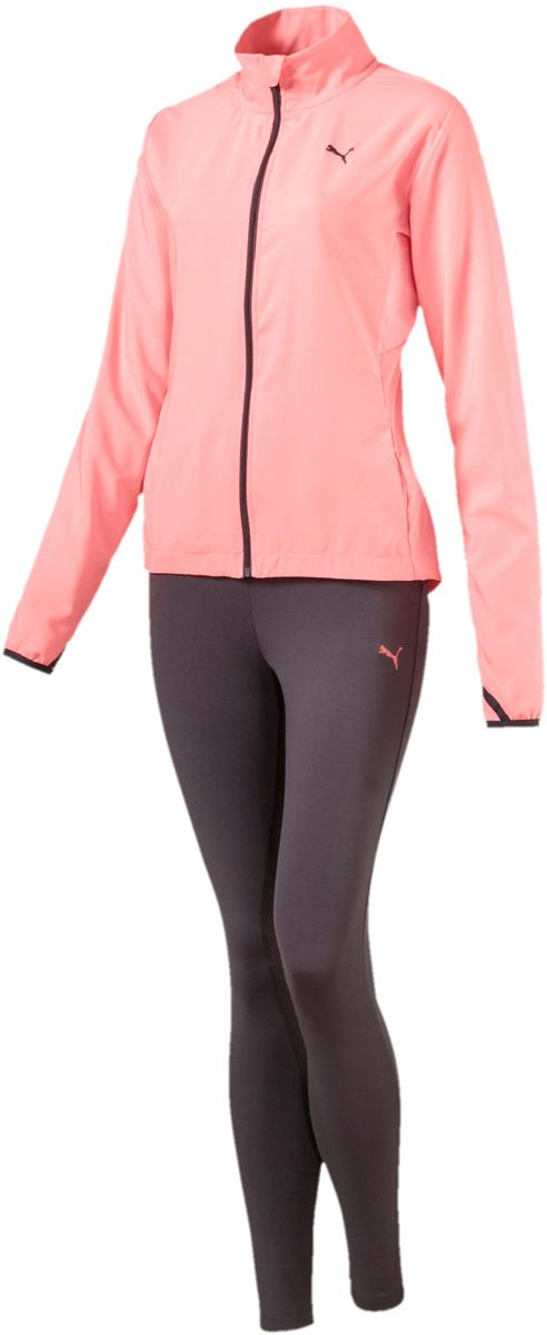 Костюм спортивный женский Puma Active Yogini Woven Suit, цвет: коралловый. 85021628. Размер XXS (38/40)85021628Комфортный женский спортивный костюм Puma Active Yogini выполнен из полиэстера. Костюм включает в себя куртку и брюки. Куртка выполнена из легкого эластичного материала, обеспечивающего свободу движений, который прекрасно держит форму изделия. Сетчатые вставки в местах возможного перегрева обеспечивают отличную вентиляцию. Покрой рукавов не стесняет движений. Куртка изготовлена с использованием высокофункциональной технологии dryCELL, которая отводит влагу и гарантирует комфорт во время активных тренировок и занятий спортом. Длинные манжеты с прорезями для больших пальцев создают дополнительный уют. Ветрозащитный клапан и высокий ворот защищают от капризов погоды. Удлиненный задний подол закрывает поясницу. Капюшон снабжен затягивающимся шнуром для изменения его объема. Карманы в боковых швах удобны и вместительны. Куртка декорирована вышитым логотипом Puma и имеет фасон в обтяжку по фигуре. Брюки декорированы вышитым логотипом Puma. Модель на эластичном пояс с внутренними затягивающимися шнурами для оптимальной подгонки по фигуре. Карманы в боковых швах удобны и вместительны. Манжеты по низу штанин выполнены из трикотажа в резинку.
