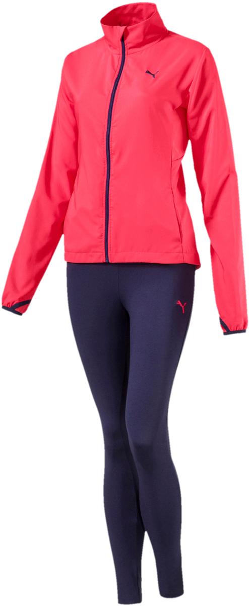Костюм спортивный женский Puma Active Yogini Woven Suit, цвет: розовый, синий. 85021618. Размер XL (48/50)85021618Комфортный женский спортивный костюм Puma Active Yogini выполнен из полиэстера. Костюм включает в себя куртку и брюки. Куртка выполнена из легкого эластичного материала, обеспечивающего свободу движений, который прекрасно держит форму изделия. Сетчатые вставки в местах возможного перегрева обеспечивают отличную вентиляцию. Покрой рукавов не стесняет движений. Куртка изготовлена с использованием высокофункциональной технологии dryCELL, которая отводит влагу и гарантирует комфорт во время активных тренировок и занятий спортом. Длинные манжеты с прорезями для больших пальцев создают дополнительный уют. Ветрозащитный клапан и высокий ворот защищают от капризов погоды. Удлиненный задний подол закрывает поясницу. Капюшон снабжен затягивающимся шнуром для изменения его объема. Карманы в боковых швах удобны и вместительны. Куртка декорирована вышитым логотипом Puma и имеет фасон в обтяжку по фигуре. Брюки декорированы вышитым логотипом Puma. Модель на эластичном пояс с внутренними затягивающимися шнурами для оптимальной подгонки по фигуре. Карманы в боковых швах удобны и вместительны. Манжеты по низу штанин выполнены из трикотажа в резинку.