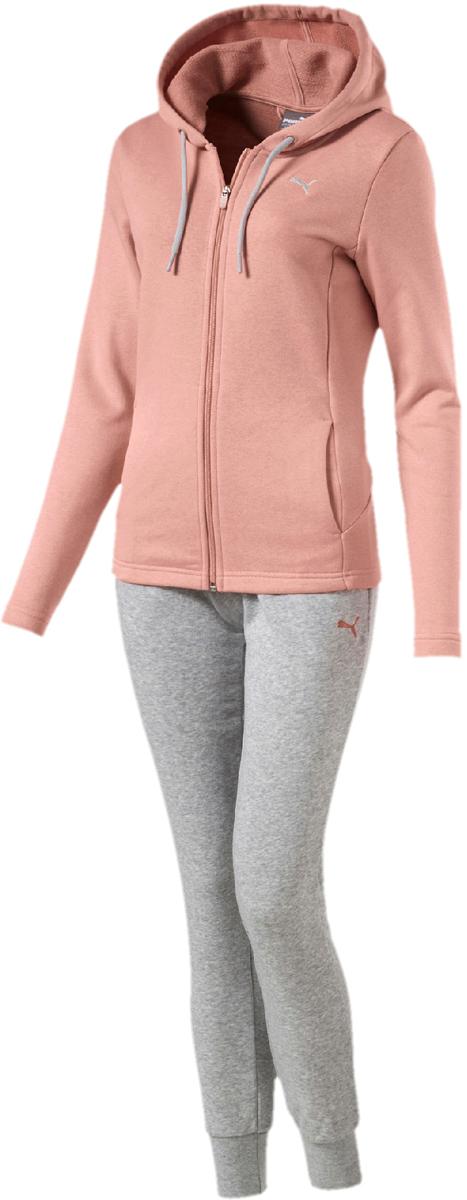 Купить Костюм спортивный женский Puma Classic Sweat Suit, cl, цвет: персиковый, серый. 85021731. Размер M (44/46)