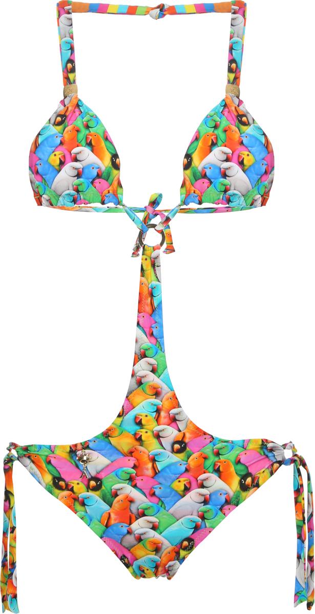 Купальник слитный для девочки Arina Festivita, цвет: разноцветный. YI 021806 AF. Размер 32 (38)YI 021806 AFМодный двусторонний купальник-трикини для подростков. Бюст – подвижные треугольные чашки с корректорами, с галстучными завязками на шее и плоскими на спине. Низ - комфортные плавки с галстуками, собранными в кольцо, и переходящие в узкую фигурную деталь, которая соединяется с бюстом с помощью металлического элемента. Модель выполнена из мягкой ткани евроджерси, которая дарит безупречный внешний вид и исключительный комфорт. Купальник с одной стороны оформлен диджитал-принтом 38 попугаев, с другой – разноцветной полоской. Модель декорирована золотыми перемычками на бретелях и металлической подвеской.