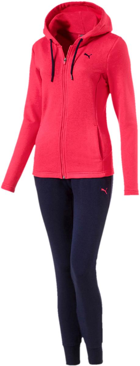 Костюм спортивный женский Puma Classic Sweat Suit,cl, цвет: розовый, синий. 85021718. Размер M (44/46)85021718Стильный женский спортивный костюм Puma Classic состоит из куртки на молнии и брюк.Куртка с длинными рукавами и капюшоном декорирована вышитым логотипом Puma. Капюшон снабжен затягивающимся шнуром для изменения его объема. Карманы в боковых швах удобны и вместительны. Фасон в обтяжку по фигуре. Брюки облегающего кроя декорированы вышитым логотипом Puma и посажены на эластичный пояс с внутренними затягивающимися шнурами для оптимальной подгонки по фигуре. По бокам предусмотрены втачные карманы. Манжеты по низу штанин выполнены из трикотажа в резинку.