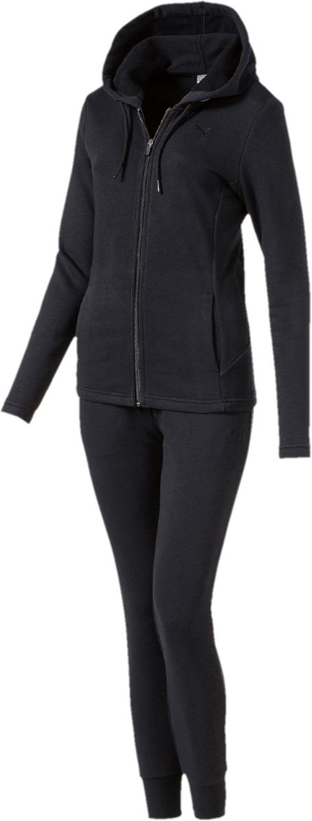 Костюм спортивный женский Puma Classic Sweat Suit,cl, цвет: черный. 85021701. Размер L (46/48)85021701Стильный женский спортивный костюм Puma Classic состоит из куртки на молнии и брюк.Куртка с длинными рукавами и капюшоном декорирована вышитым логотипом Puma. Капюшон снабжен затягивающимся шнуром для изменения его объема. Карманы в боковых швах удобны и вместительны. Фасон в обтяжку по фигуре. Брюки облегающего кроя декорированы вышитым логотипом Puma и посажены на эластичный пояс с внутренними затягивающимися шнурами для оптимальной подгонки по фигуре. По бокам предусмотрены втачные карманы. Манжеты по низу штанин выполнены из трикотажа в резинку.