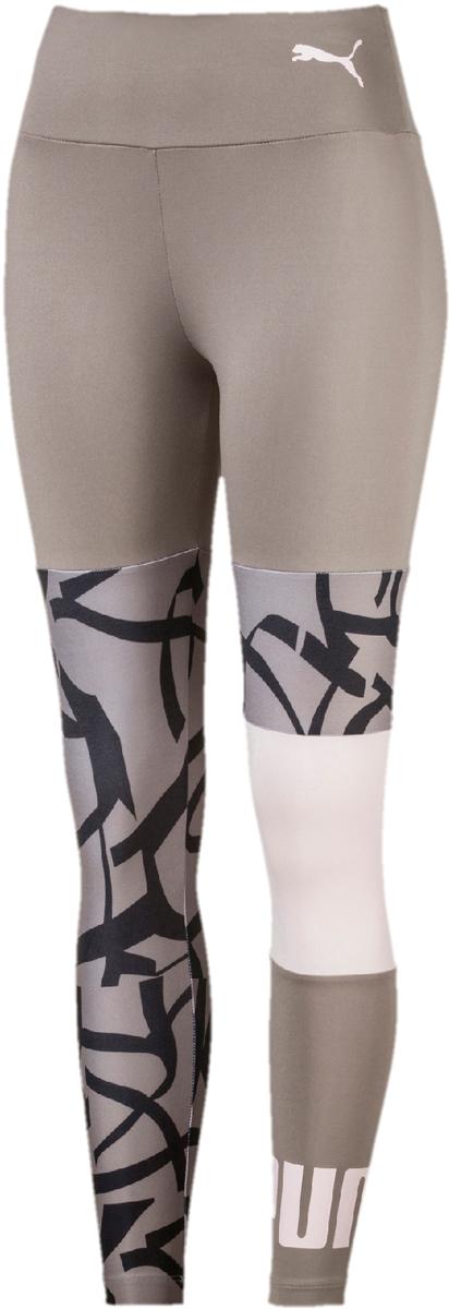 Леггинсы женские Puma Urban Sports Legging, цвет: серый, черный. 85003017. Размер L (46/48) толстовка женская puma urban sports fz hoody цвет темно зеленый 59404414 размер m 44 46