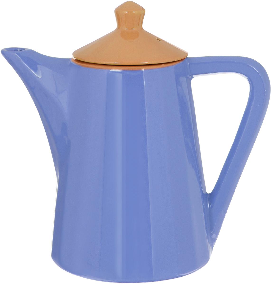 Чайник заварочный Борисовская керамика Ностальгия, цвет: голубой, желтый, 800 мл чайник заварочный walmer alba цвет серый металлик 800 мл
