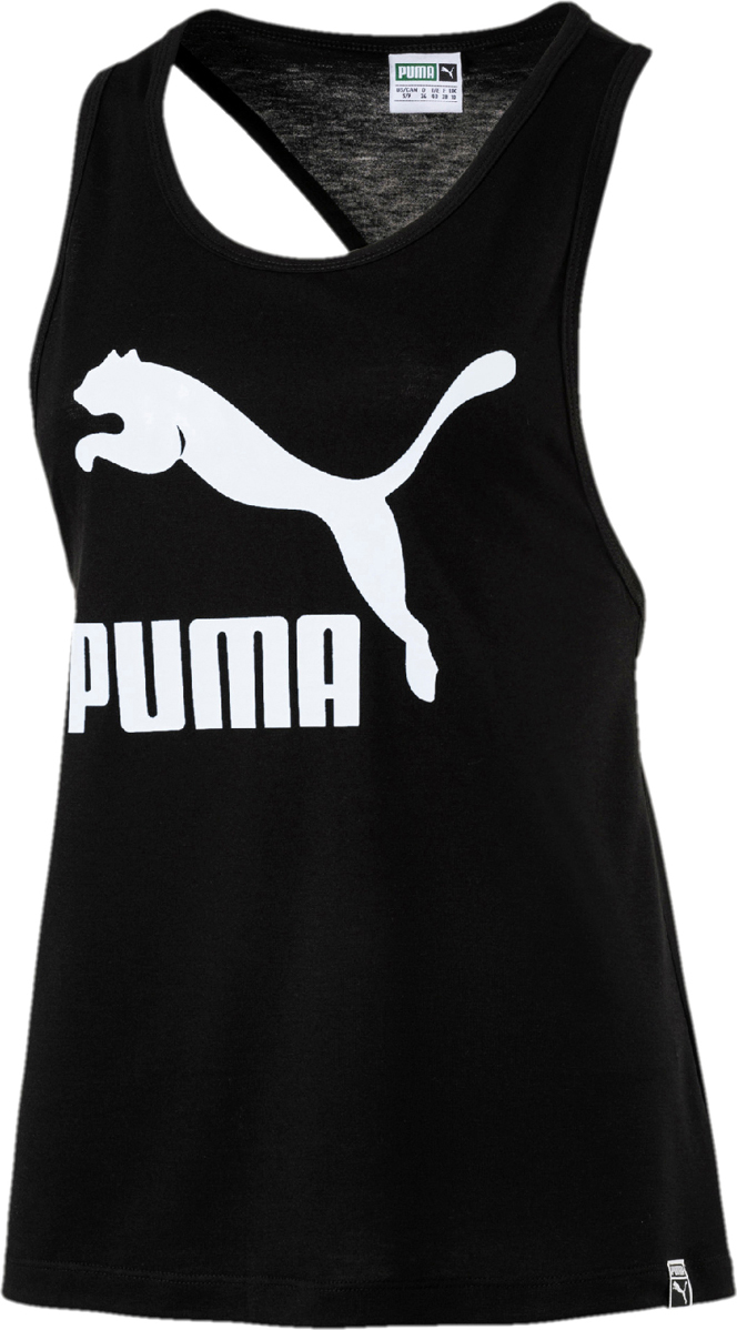 Майка женская Puma Classics Logo Tank, цвет: черный. 57499001. Размер XL (48/50) scoop neck rabbit in glasses pattern short sleeves t shirt for women