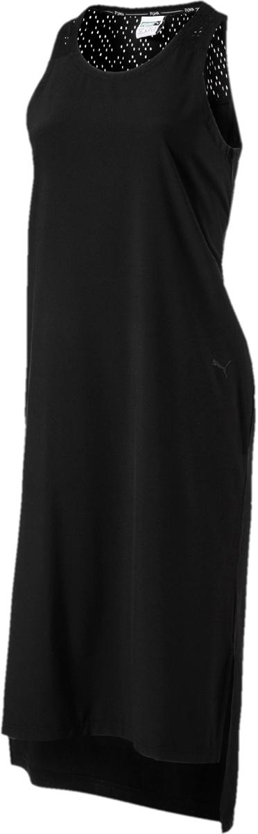 Платье Puma Evo Dress, цвет: черный. 57511401. Размер XL (48/50)57511401Платье от Puma выполнено из эластичного материала. Модель декорирована логотипом бренда в виде набивного рисунка с металлическим блеском и имеет удобную стандартную посадку. Боковые карманы не портят элегантный силуэт, который подчеркивается разрезами по бокам. Застежка сзади выполнена из эластичной тесьмы с пряжкой.