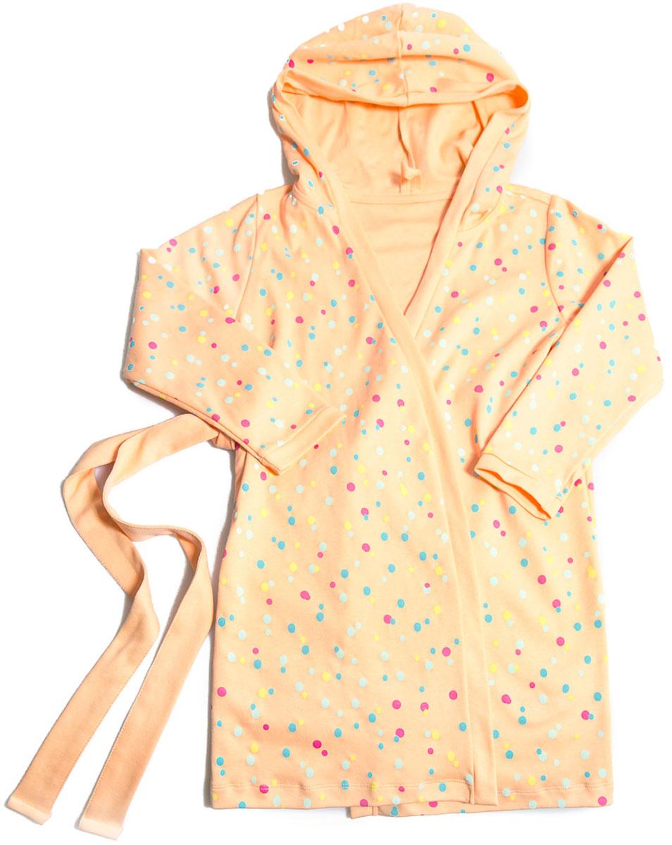 Халат для девочки Mark Formelle, цвет: оранжевый. 2493-2. Размер 1162493-2(оранжевый)Халат для девочки Mark Formelle выполнен из 100% хлопка. Модель с длинными рукавами и капюшоном дополнена широким поясом. Изделие оформлено принтом в разноцветный горошек.