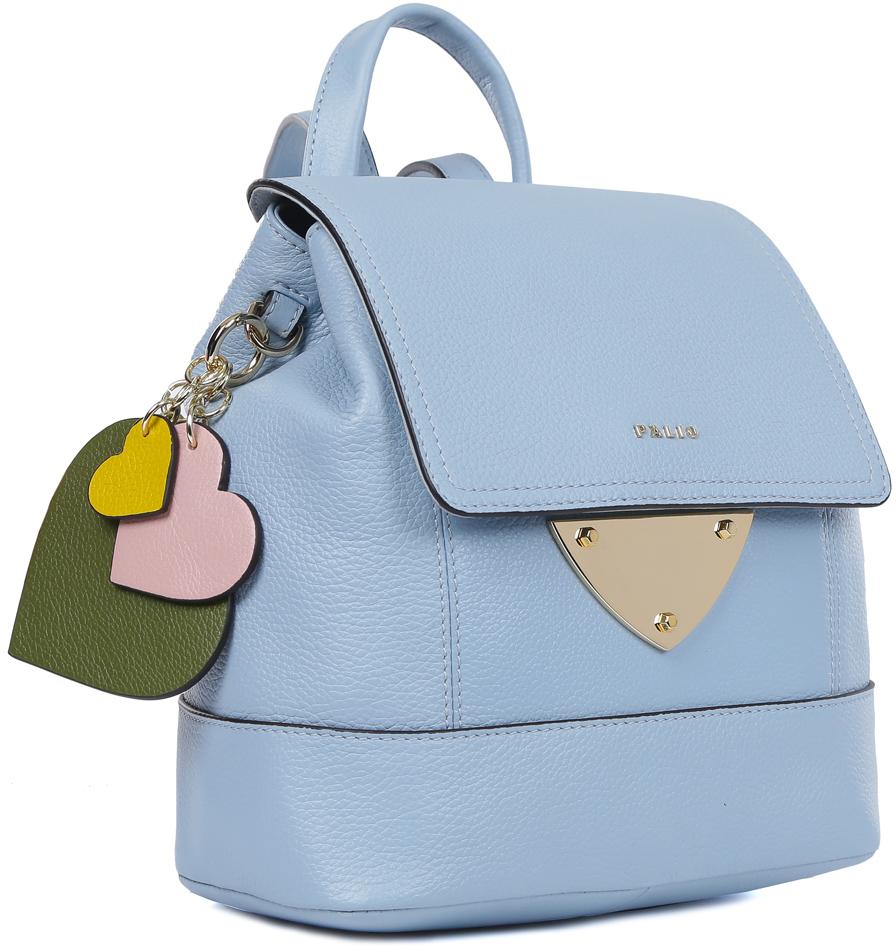 Рюкзак женский Palio, цвет: голубой. 15533A2-W2-821/665 l.blue15533A2-W2-821/665 l.blueЖенская сумка-рюкзак Palio, выполненная из натуральной мягкой и пористой кожи, воплотила в себе все элементы моднейшего стиля спортивный шик. Элегантный голубой оттенок, лаконичная форма и стильная фурнитура под золото, - все это продемонстрирует окружающим ваше умение выбирать самые актуальные и модные аксессуары. Игривый кожаный брелок в виде трехцветных сердечек завершает дизайн модели, создавая яркий аксессуар, который дополнит любой образ. Рюкзак отлично подойдет не только к рваным джинсам, но и добавит нотки игривости в сдержанный деловой костюм. Внутри аксессуара находится одно отделение, которое закрывается на прочный замок. С помощью удобных жгутов вы можете менять форму: от более узкой к прямоугольной. Внутри имеются удобные карманы, в которых вы можете разместить сотовый телефон, а также другие мелкие вещи. Рюкзак компактен и не вмещает папки формата А4, длина ручек регулируется.