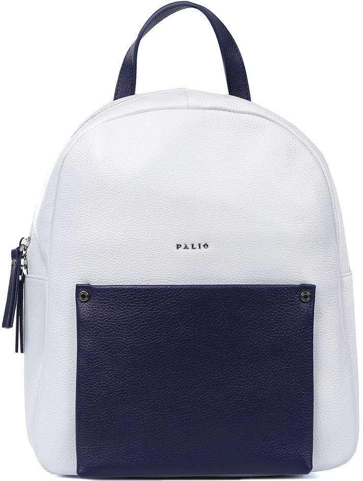 Рюкзак женский Palio, цвет: белый, синий. 15910A-W1-065/897 white/blue15910A-W1-065/897 white/blueЭлегантный женский рюкзак Palio, выполненный из натуральной мягкой и пористой кожи, воплотил в себе все элементы моднейшего стиля спортивный шик. Стильное сочетание белого и синего цвета, лаконичный дизайн и длинные поводки - все это продемонстрирует окружающим ваше умение выбирать самые актуальные и модные аксессуары. Рюкзак отлично подойдет не только к рваным джинсам, но и добавит нотки игривости в сдержанный деловой костюм. Внутри аксессуара находится одно отделение, которое закрывается на прочную молнию с длинными кожаными поводками. Вы сможете разместить сотовый телефон, а также мелкие вещи с помощью внутренних карманов. На лицевой и тыльной части рюкзака дизайнеры разместили отделения с длинными кожаным поводком, чтобы нужные вещи всегда были под рукой. Рюкзак очень вместителен, поэтому вы всегда сможете носить с собой важные документы и любимые гаджеты.