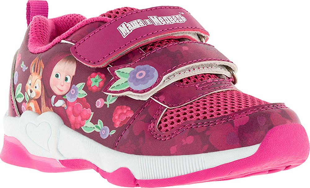 Кроссовки для девочки Kakadu Маша и Медведь, цвет: фуксия. 7180C. Размер 247180CПодсводник, Съемная стелька, Светодиоды, Анатомическая стелька, Хлопковая подкладка