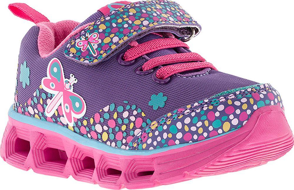 Кроссовки для девочки Kakadu, цвет: сиреневые. 7184B. Размер 267184BПодсводник, Облегченная подошва, Съемная стелька, Светодиоды, Анатомическая стелька, Хлопковая подкладка