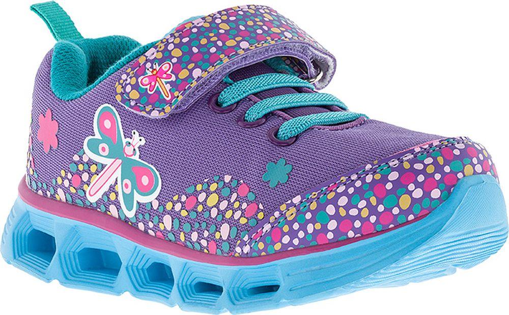 Кроссовки для девочки Kakadu, цвет: фиолетовые. 7184C. Размер 277184CПодсводник, Облегченная подошва, Съемная стелька, Светодиоды, Анатомическая стелька, Хлопковая подкладка