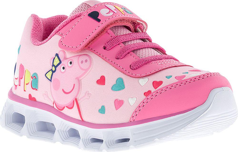 Кроссовки для девочки Kakadu Peppa Pig, цвет: розовые. 7192A. Размер 277192AПодсводник, Облегченная подошва, Съемная стелька, Светодиоды, Анатомическая стелька, Хлопковая подкладка