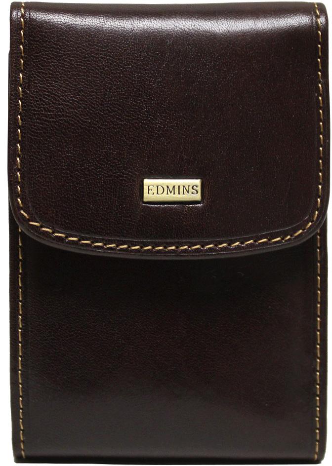 Визитница мужская Edmins, цвет: коричневый. 1703-S-ML-ED brown обложка для паспорта edmins цвет коричневый 13843 1n sof ed