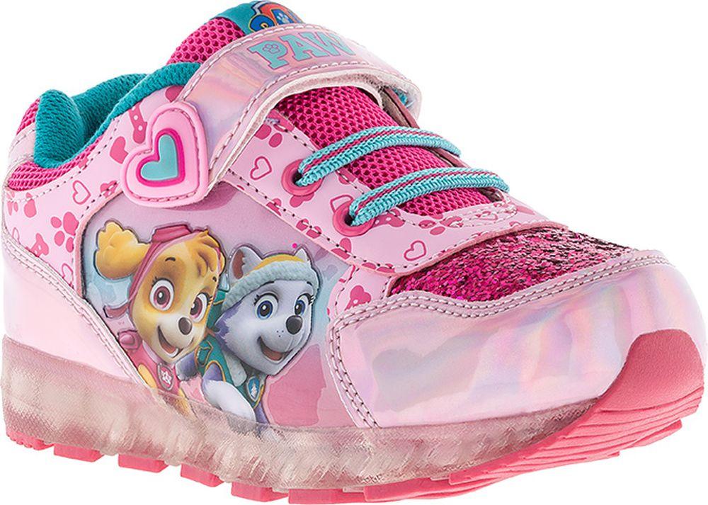 Кроссовки для девочки Kakadu Paw Patrol, цвет: розовые. 7199A. Размер 257199AПодсводник, Съемная стелька, Светодиоды, Анатомическая стелька, Хлопковая подкладка