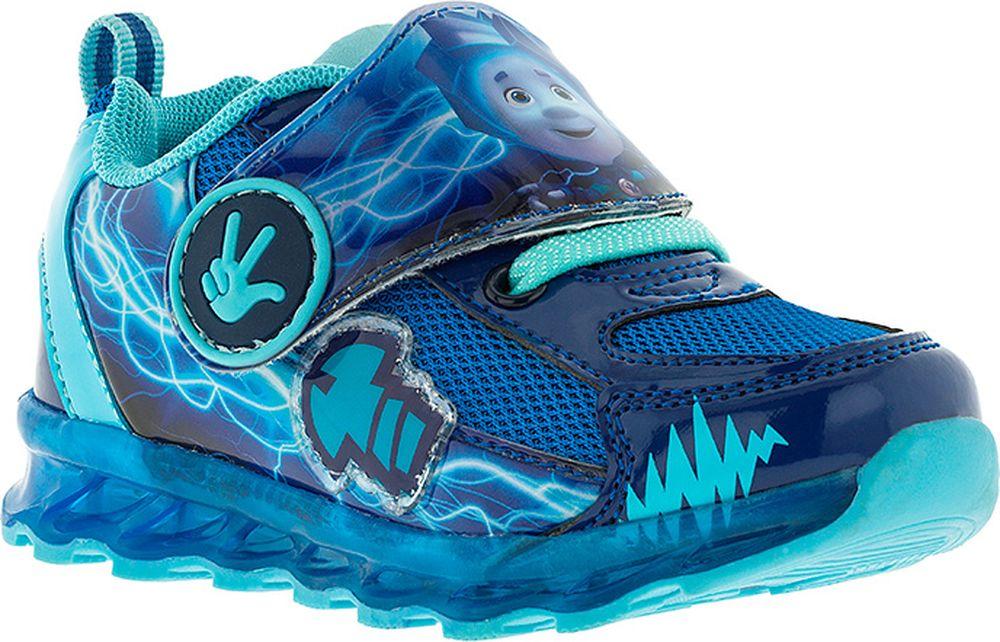Кроссовки для мальчика Kakadu Фиксики, цвет: синие. 7216B. Размер 257216BПодсводник, Съемная стелька, Светодиоды, Анатомическая стелька, Хлопковая подкладка