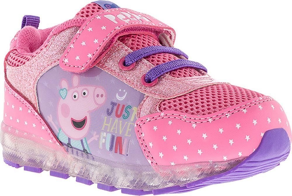 Кроссовки для девочки Kakadu Peppa Pig, цвет: фуксия. 7269A. Размер 247269AПодсводник, Съемная стелька, Светодиоды, Анатомическая стелька, Хлопковая подкладка