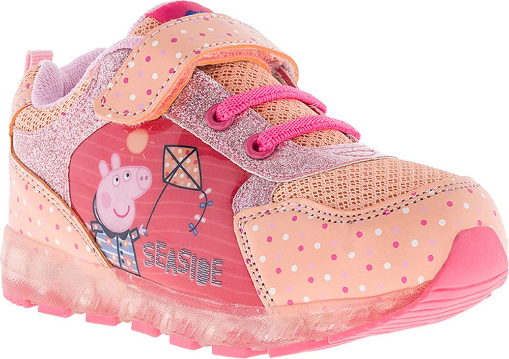 Кроссовки для девочки Kakadu Peppa Pig, цвет: бежевый. 7269B. Размер 297269BМамам приходится приложить немало усилий, чтобы найти такие кроссовки, которые и понравятся дочке, и будут отвечать всем требованиям по качеству и удобству. Идеальный выбор в этом случае - эти детские кроссовки от Kakadu Peppa Pig! Изюминкой этих кроссовок можно смело назвать яркие светодиоды, которые будут мигать при каждом шаге ребенка. Это красиво, модно и полностью безопасно - мигающие светодиоды надежно защищены от попадания влаги.