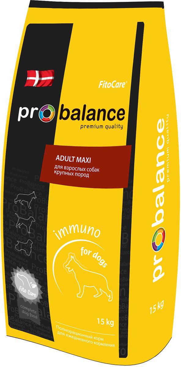Корм сухой ProBalance Immuno Adult Maxi для взрослых собак крупных пород, 15 кг4607004706622Полнорационный сбалансированный сухой корм премиум класса для взрослых собак крупных пород.Идеально подходит для ежедневного кормления.Лизин, содержащийся в гранулах, способствует укреплению иммунитета.Специально подобранный пребиотик поддерживает полезную микрофлору кишечника, а глюкозамин и хондротин помогают сохранить суставы здоровыми.Оптимальный баланс питательных и минеральных веществ предотвращает возникновение заболеваний опорно-двигательного аппарата.