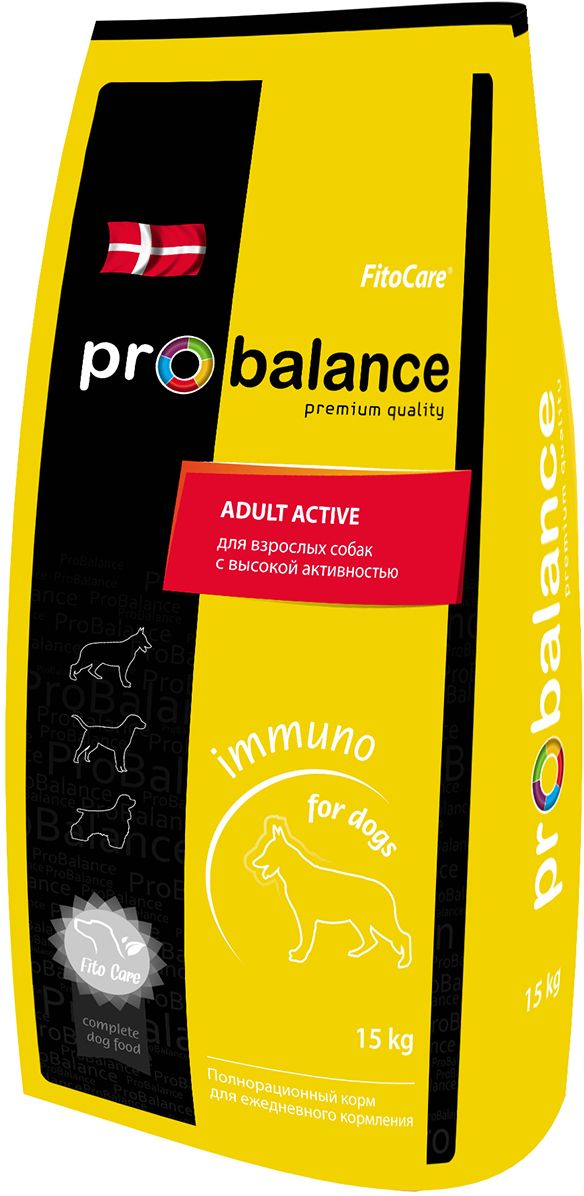 Корм сухой ProBalance Immuno для взрослых собак с высокой активностью, 15 кг