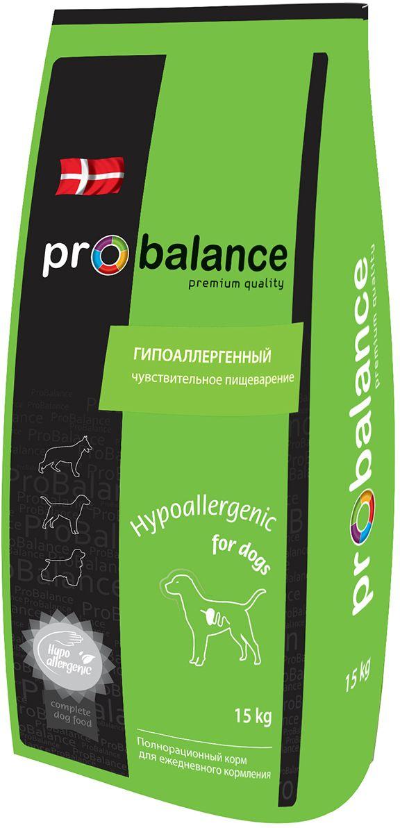 Корм сухой ProBalance Hypoallergenic для взрослых собак всех пород, 15 кг4607004706646Полнорационный сбалансированный сухой корм премиум класса для взрослых собак всех пород с чувствительным пищеварением. Рекомендуется для животных с чувствительным пищеварением и склонных к пищевой аллергии.Ограниченный набор ингредиентов снижает риск возникновения аллергических реакций, но в то же время рацион полностью удовлетворяет потребности животного в питательных веществах, витаминах и минералах. Рис оказывает благоприятное воздействие на слизистую оболочку кишечника, а пищевые волокна стимулируют его моторику и облегчают пищеварение.