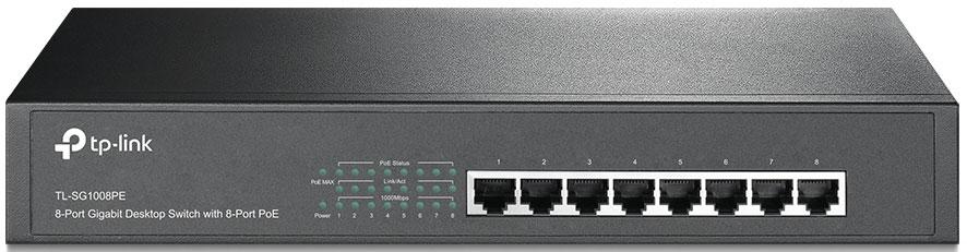 TP-LINK TL-SG1008PE коммутатор (8 портов)TL-SG1008PEФункция приоритетности подключаемых устройствФункция автоматического определения и запоминания МАС-адресовФункция автоматического удаления старых МАС-адресовПотребляемой мощностью до 124 Вт для всех портовPlug and playОдин вентилятор