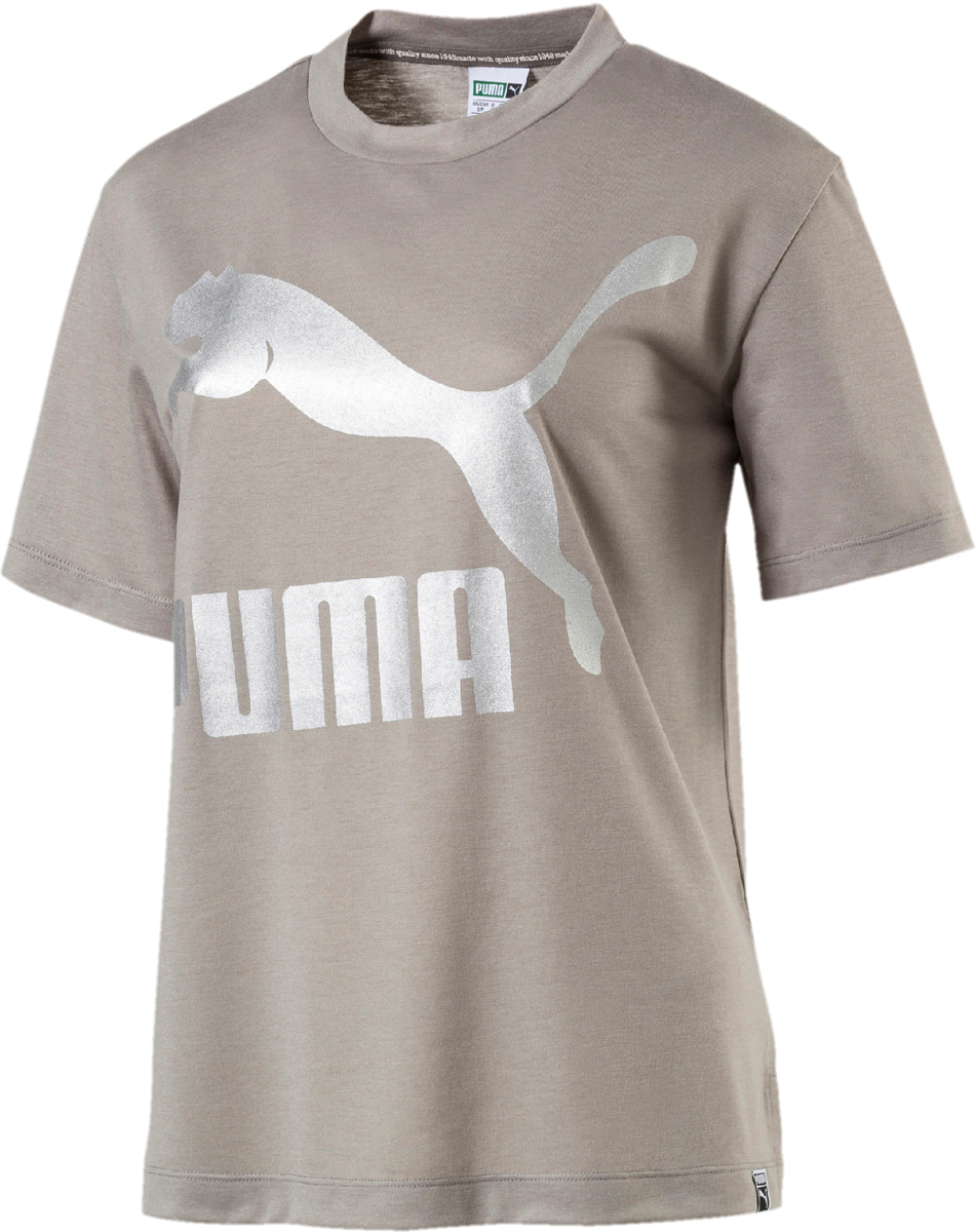 Футболка женская Puma Classics Logo Tee, цвет: бежевый. 57506717. Размер XL (48/50) футболка женская puma s s logo tee w цвет темно оливковый 51667403 размер xl 48 50
