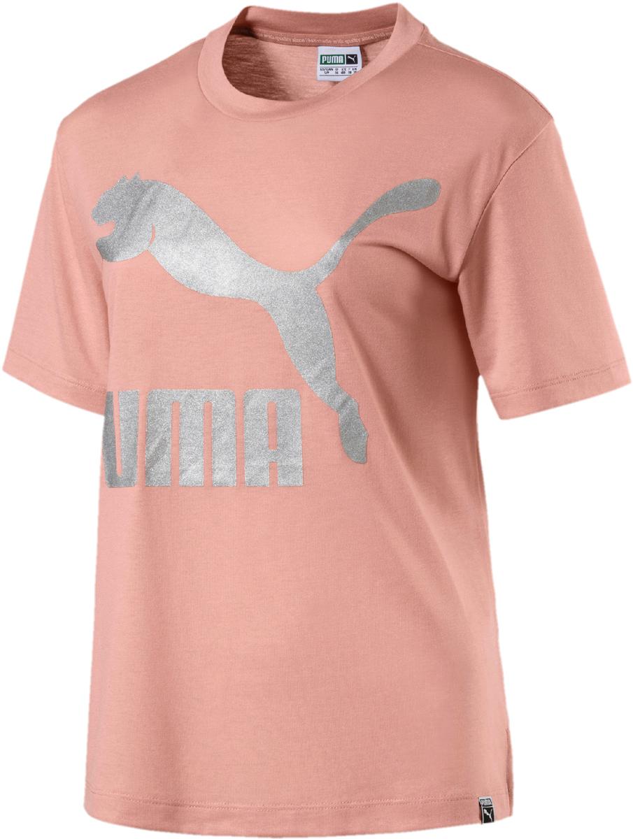 Футболка женская Puma Classics Logo Tee, цвет: персиковый. 57506731. Размер XL (48/50) square neck crop tee