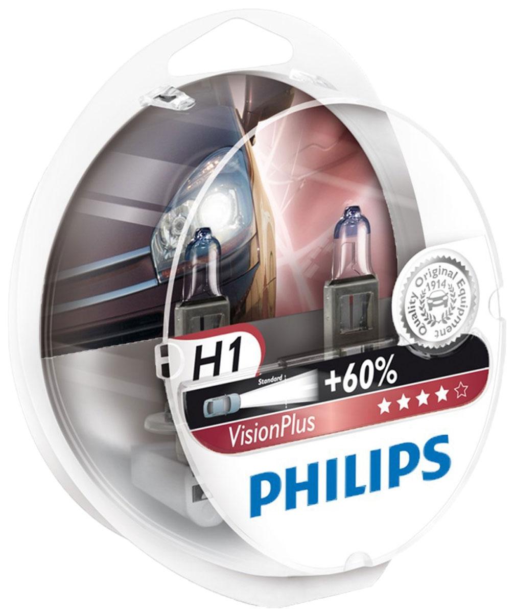 Лампа автомобильная галогенная Philips VisionPlus, для фар, цоколь H1 (P14,5s), 12V, 55W, 2 шт12258VPS2Галогенная лампа для автомобильных фар Philips VisionPlus произведена из запатентованного кварцевого стекла с УФ фильтром Philips Quartz Glass. Кварцевое стекло Philips в отличие от обычного твердого стекла выдерживает гораздо большее давление смеси газов внутри колбы, что препятствует быстрому испарению вольфрама с нити накаливания. Кварцевое стекло выдерживает большой перепад температур, при попадании влаги на работающую лампу изделие не взрывается и продолжает работать.Лампы VisionPlus производят на 60% больше света по сравнению со стандартной галогеновой лампой, позволяя водителям видеть дорогу дальше, увеличивают зону освещения перед автомобилем на 25 метров и излучают максимально мощный направленный свет. Это повышает безопасность и комфорт вождения. Лампы отличаются высокой эффективностью и разумной ценой, удовлетворяя все современные требования.Автомобильные галогенные лампы Philips удовлетворят все нужды автомобилистов: дальний свет, ближний свет, передние противотуманные фары, передние и боковые указатели поворота, задние указатели поворота, стоп-сигналы, фонари заднего хода, задние противотуманные фонари, освещение номерного знака, задние габаритные/стояночные фонари, освещение салона.