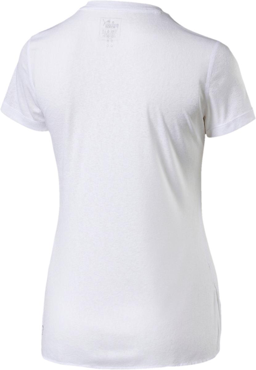 """Футболка Puma изготовлена с использованием высоко функциональной технологии dryCELL, которая отводит влагу и гарантирует комфорт во время активных тренировок и занятий спортом. Плоские швы не натирают кожу и обеспечивают полный комфорт. Элементы из светоотражающего материала, которые видны с любого ракурса, позаботятся о вашей безопасности в темное время суток. Спереди футболка декорирована надписью """"Run"""" на фоне модного узора."""